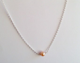 Floating Pearl Necklace - Single Pearl Pendant - Sterling Silver - Peach Pink Freshwater Pearl