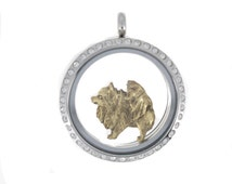 Pomeranian charm in antique gold plated pewter for large 30 mm Charm My Story Lockets.  Also fits Origami Owl lockets and major brands