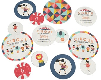 Circus / Carnival Confetti Kit - Extra Large Party Circles for a Baby Shower or Birthday Party