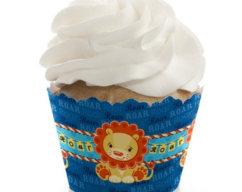 Lion Boy Cupcake Wrappers -Baby Shower or Birthday Party Cupcake Decorations - Set of 12