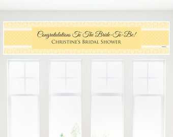 Damask Yellow Banner - Bridal Shower Decorations - Bridal Shower Party Supplies