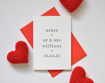 Personalised Usher Card