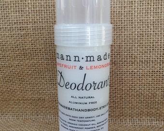 Grapefruit & Lemongrass Deodorant - All Natural, Aluminum Free, Detox, 2oz