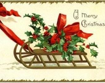 A Merry Christmas Vintage Digital Image Printable Download Christmas Tags