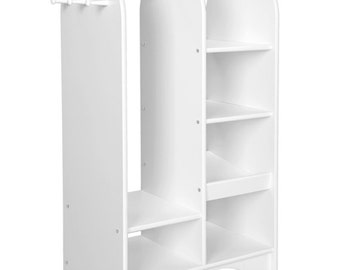 Kid's Wardrobe, Dress Up Storage Rack for Clothes or Costume Organization, Unfinished Wood Furniture