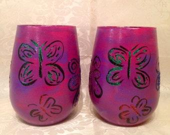 Pair of glitter butterfly Best Friend stemless white wine glasses ~ butterfly wine glasses~ best friend wine glasses~Unique wine glasses~