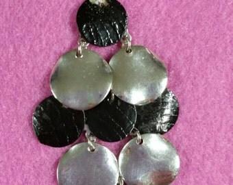 Beautiful Silver and black metalic chandlier earrings