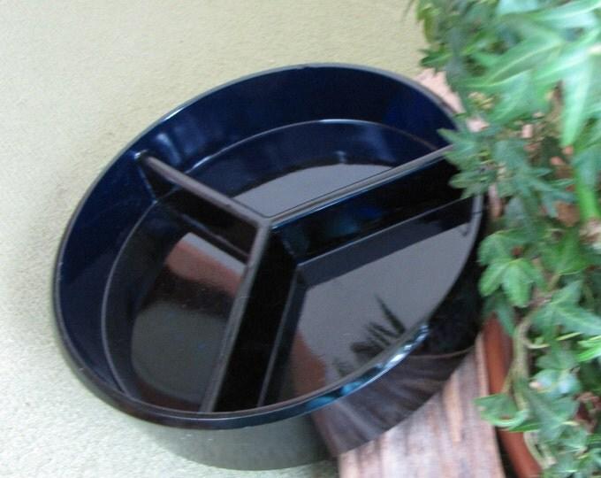 Vintage Dark Blue Divided Relish Tray Cobalt Serving Dish