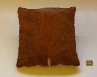 Fur pillows, cowhide pillows, cowhide brown-white, 45 x 45 cm