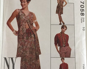 McCall's 7058 Size 10 NYNY The Collection Misses' Unlined Jacket, Vest, Skirt, Pants And Belt