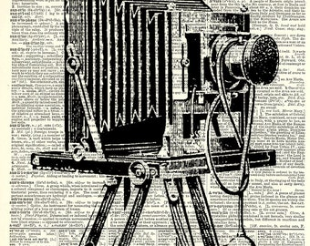 Antique Camera Vintage Art Print. Vintage book page art print. Print on book page.