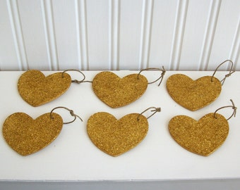 Gold Glitter Heart Decoration, Ornamanet for any Occasion, Set of 6