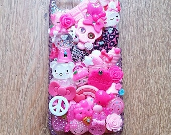"Hand Decorated Kawaii ""Pretty in Pink"" Decoden Phone Case for iPhone 5C"