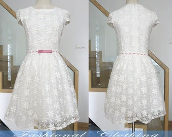 blue white lace dress summer dress women clothing women dress short sleeve dress slim fit girl dress