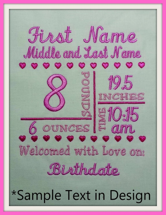 5x7 birth announcement template machine embroidery file. Black Bedroom Furniture Sets. Home Design Ideas