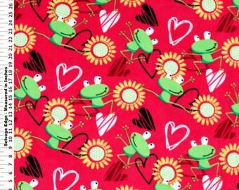 Fabric by the 1/2 Yard - Frog Love Fuchsia Polar Fleece