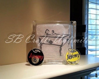 Pool / billards Home decor Custom 8 x 8 Lighted Glass Block.  Themed and personalized to suit.