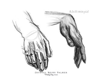 Charcoal / Pencil Art - Drawing of Two Hands - PRINT
