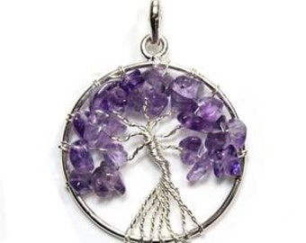 Tree of life amethyst stone silver plated pendant