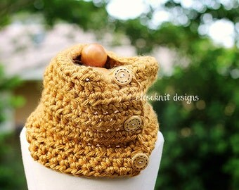 Toddler Mustard Crochet Cowl Infinity Scarf Warmer with Buttons
