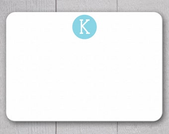 Initial Note Cards - 24pk, Personalized Flat Note Cards, Printed without Envelopes (NC6)