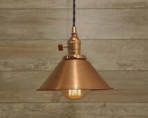 Brushed Copper Spun Cone Shade Industrial Pendant Light Fixture Rustic Vintage Retro