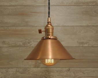 Brushed Copper Spun Cone Shade Industrial Pendant Light Fixture Rustic Vintage Retro
