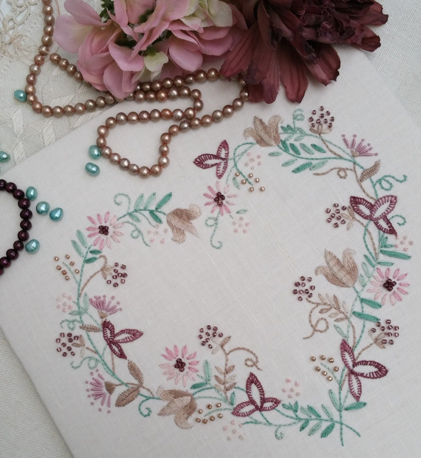 Traditional transfer embroidery kit tranquility mauves