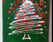 Green Abstract Christmas Tree 9 x 12 Acrylic on Canvas
