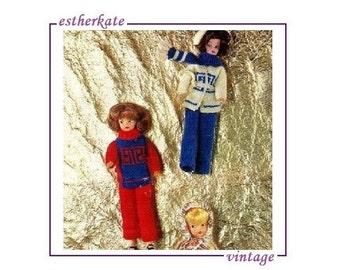 VINTAGE knitting pattern pdf, Sindy doll clothes teenage outfits, trousers sweater cardigan and hat, INSTANT DOWNLOAD