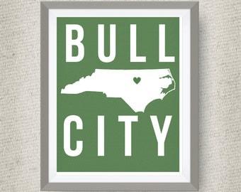 Bull City Art Print, Durham North Carolina - Custom Locations & Colors Available