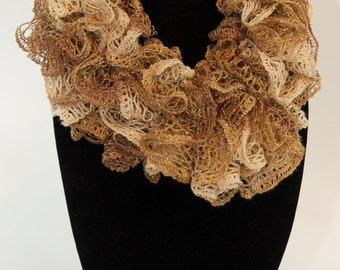 Gold Woman's Ruffled Scarf, Gold Blend Sashay Ruffled Scarf, Bell Ruffled Scarf, Gold Knit Ruffled Scarf, Knit Ruffled Scarf