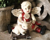 "Altered Art Doll OOAK ""Patty Jo"" Beautiful Angel/Fairy Doll With Pull Toy!"