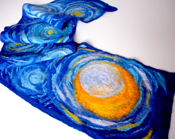 Starry night Artist gift Van Gogh inspiration hand painted scarf Blue winter scarf Wool scarf Nunofelted shawl Impressionism Art to wear