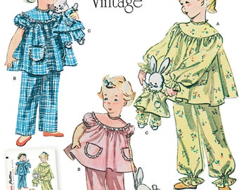 Simplicity Pattern 1264 Child's Vintage Pajamas and Stuffed Bunny with Pajamas