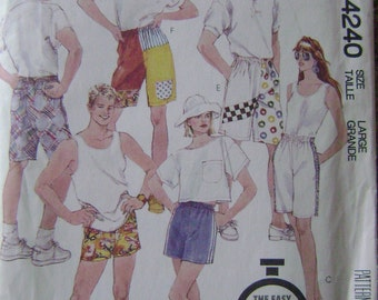 VINTAGE McCalls Pattern 4240 Misses', Men's and Teen Boys' Shorts