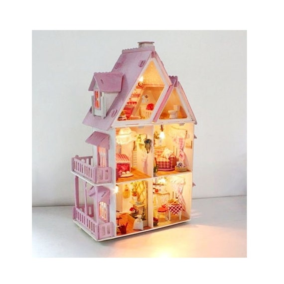 Items similar to wooden dollhouse with furniture led for Big modern dollhouse