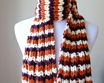 Virginia Tech Scarf - Chunky Knit Scarf - Hokies Maroon and Orange Scarf