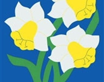 Daffodils Handcrafted Applique House Flag