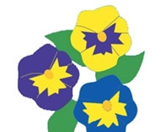 Pansies Handcrafted Applique Garden Flag