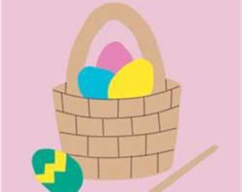 Easter Basket Handcrafted Applique Garden Flag