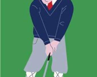 Golfer Handcrafted Applique House Flag