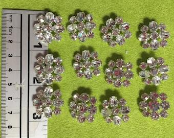 12 Czech Rhinestone Buttons. Made in Czech Republic.