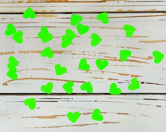 heart confetti neon green
