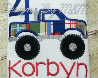 Personalized Monster Truck Birthday Shirt/ Bodysuit with Number