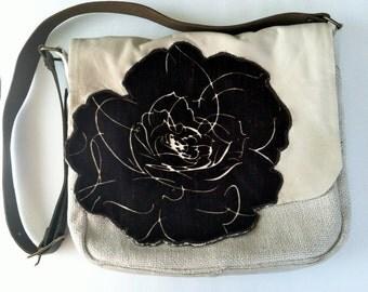 Messenger Bag/ Ivory and Chocolate Velvet