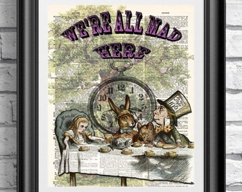 Alice in Wonderland mad tea part on dictionary book page. Antique wall hanging on upcycled media. Mad hatter artwork Alice wall art. Gift