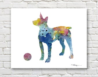 Rat Terrier Art Print - Abstract Watercolor Painting - Wall Decor