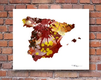 Spain Art Print - Map - Abstract Watercolor Art Print - Wall Decor
