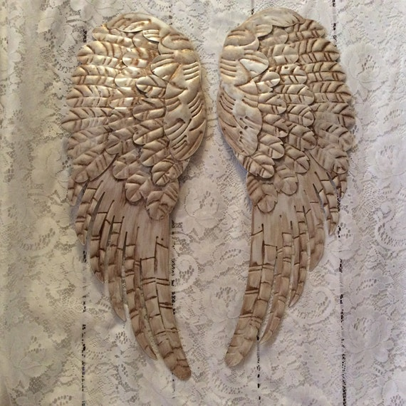 Large metal angel wings wall decor distressed pearl white for Angel wall decoration